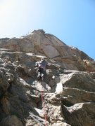Rock Climbing Photo: Past the crux on Community Service (5.10a), 8000 F...