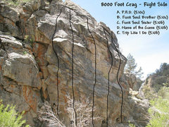 Rock Climbing Photo: Photo/topo for the 8000 Foot Crag (Right Side).