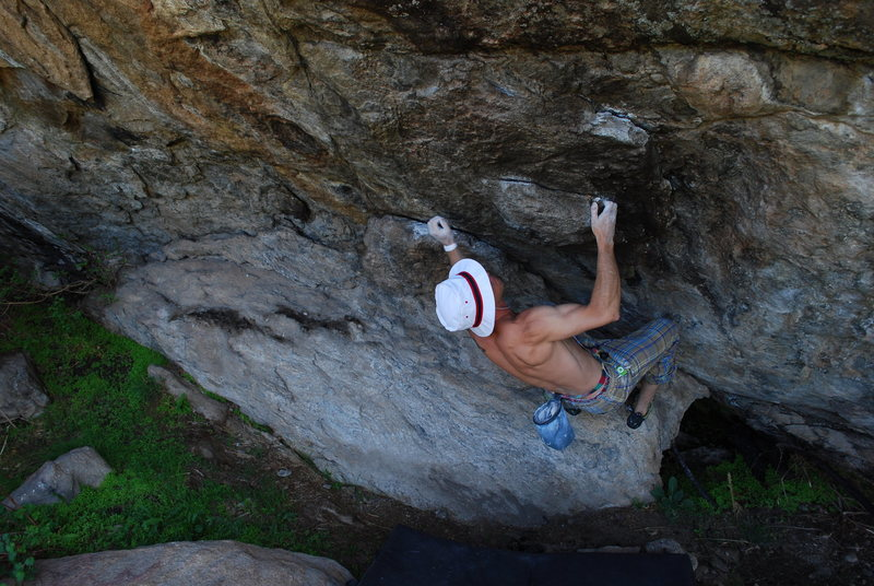 "Wiley Evans on the opening moves of ""Wisdom.""  Brothers Lookout South.  Three Sisters Park, Colorado."