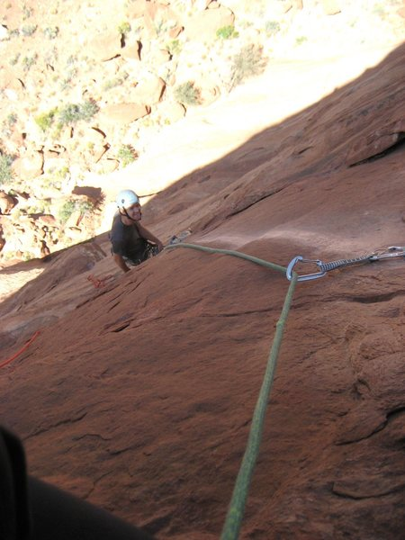 Steve on the belay of pitch two