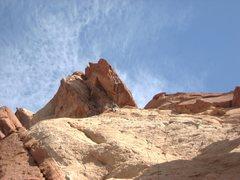 Rock Climbing Photo: Pitch three.... very pleasant slab. The steep groo...