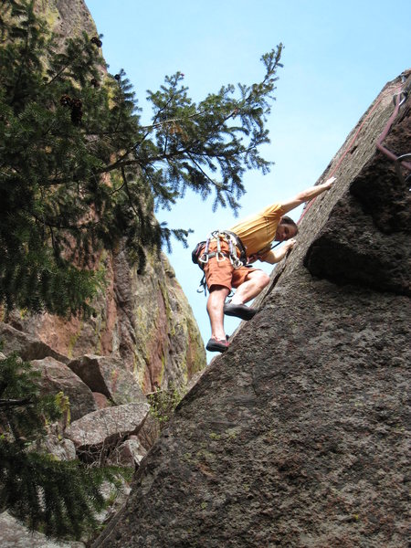 If you've gone to the trouble to climb Coming Attractions, you might as well give this a run.  Fun, albeit bried, slabbin in a beautiful secluded setting.