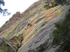 Rock Climbing Photo: Short Attention Span climbs the beautiful streaked...