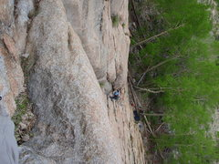 Rock Climbing Photo: Chels coming up pitch 1 - looks steeper in this ph...