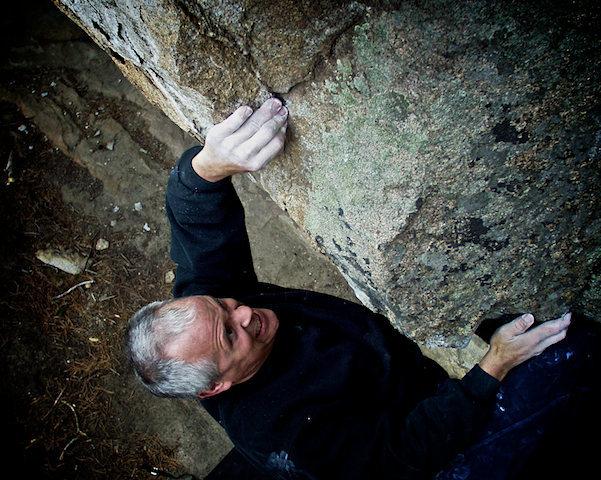 "Scott Sillis climbing 'Less Than Thievery."""
