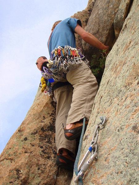 Rock Climbing Photo: Ben heading up the start of pitch 4.