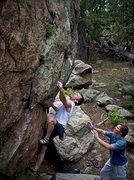 "Rock Climbing Photo: Stan crushing ""The Blockheads."""
