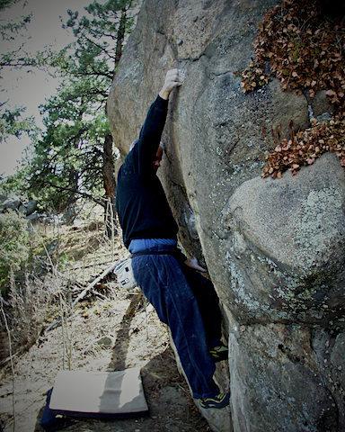 "Scott Sillis climbing ""The Sausage Gnome."""
