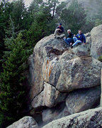 """Rock Climbing Photo: The boys on top of """"Sickle."""""""