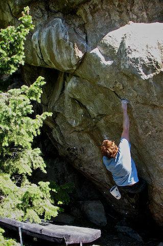 "Rock Climbing Photo: Luke sending ""Double Socket."""