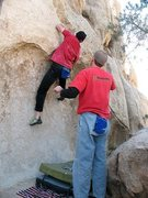 Rock Climbing Photo: Red shirt day on The Reider Problem (V4), Joshua T...