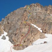 Rock Climbing Photo: A foreshortened view of the route and how my partn...