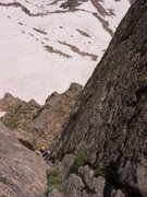 Rock Climbing Photo: Looking down the last half of P3.  Bhoto by Brian ...