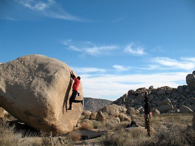 Rock Climbing Photo: FA of Hop Juice (V3), Joshua Tree NP