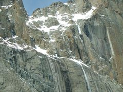 Rock Climbing Photo: Climber on Broadway, small speck on snowfield.