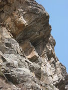 Rock Climbing Photo: The route goes right through the center of the ove...