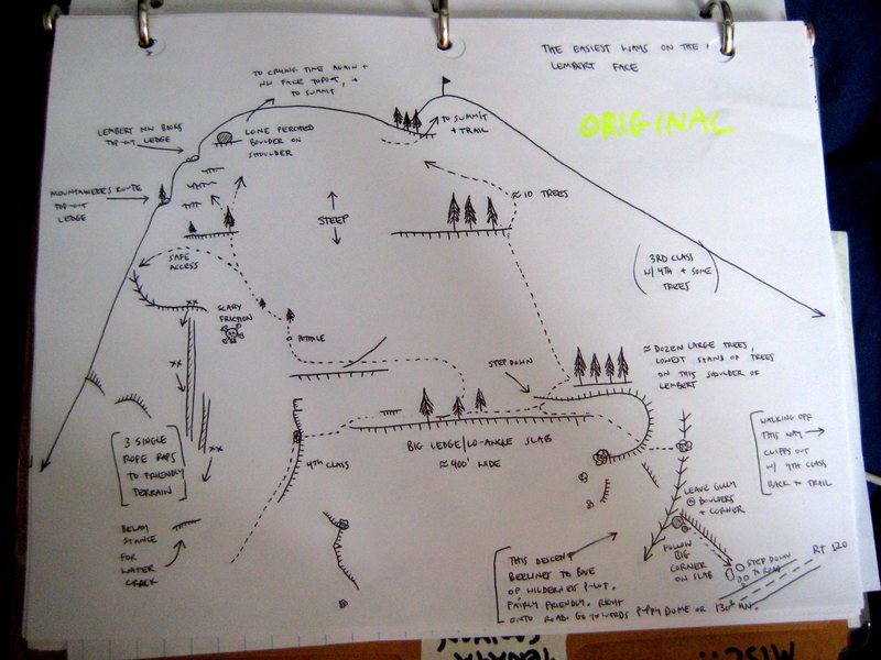 Rock Climbing Photo: A map of the various descents on Lembert.