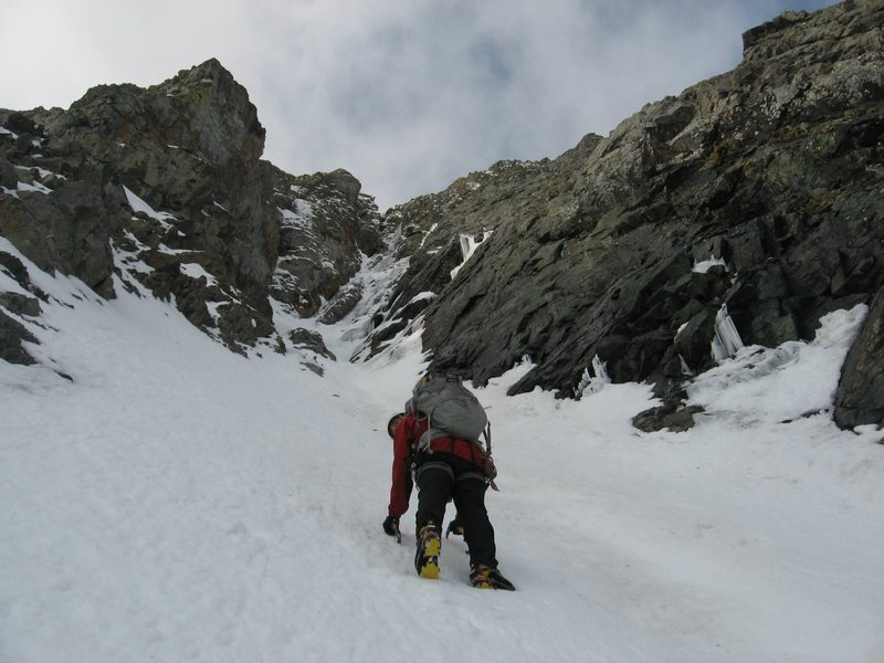 Rock Climbing Photo: J. Crossman starting up Gash Couloir