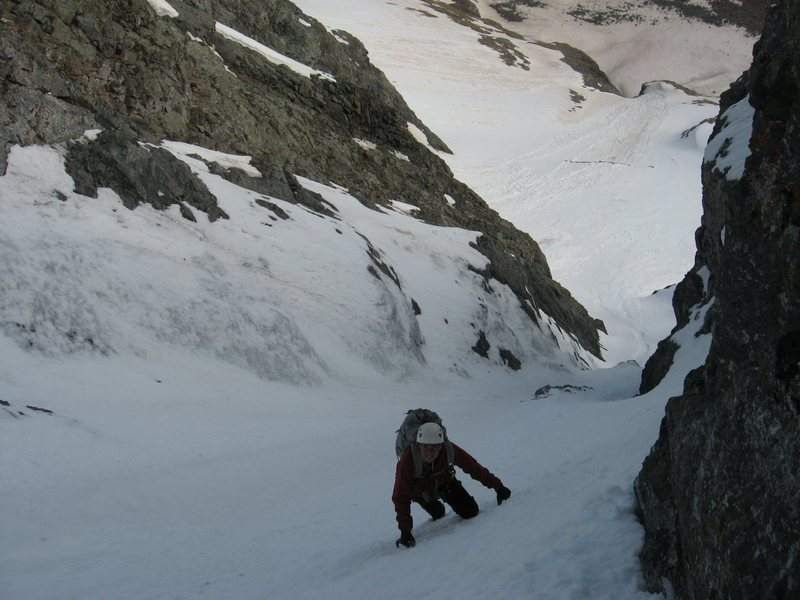 J. Crossman soloing in lower couloir