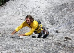 Rock Climbing Photo: James Welton leading Wheat thin on passive gear on...