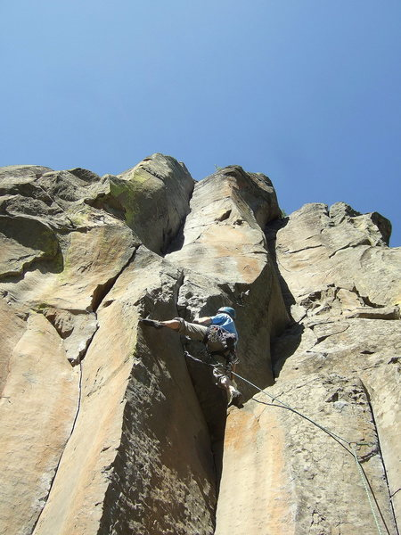 Rock Climbing Photo: The step-across move.