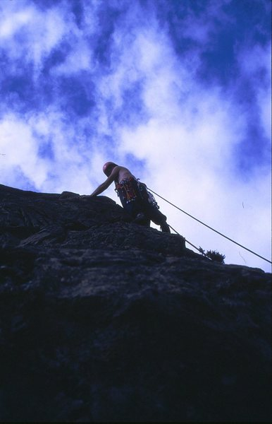 Neil approaching the crux of Ash Wall.