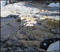 Rock Climbing Photo: Following the band of golden quartz