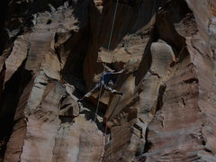 Rock Climbing Photo: Cruising out into the second crux.