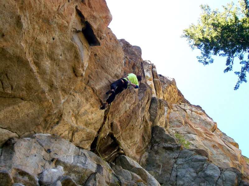Rock Climbing Photo: Greg Miller getting to the anchors, although still...