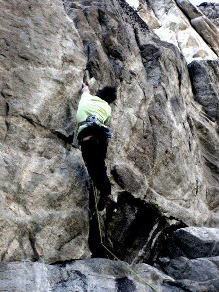 Rock Climbing Photo: Cruxin', mandatory finger lock campus.