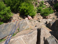 Rock Climbing Photo: Brad approaching the top of Piece of Cake, with th...