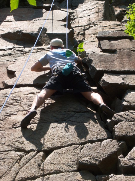 Andy May on Rosebush.  We chose to climb the right side of the route.  Bad idea...