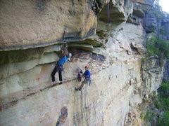 Jamie Dial Jeff Noffsinger on Vertigo on O&W Wall...the Gorge.