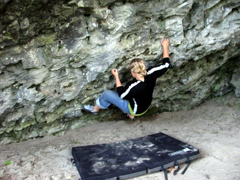 Rock Climbing Photo: Trina working on the cruxy central section of the ...