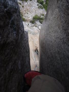 Rock Climbing Photo: Looking down half way through the Harding Slot Pho...