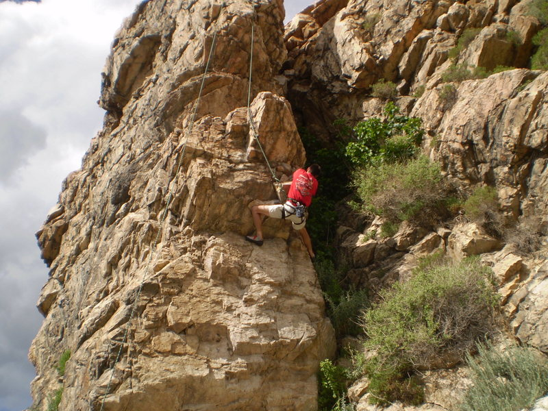 tough climb , scary location for falls and toprope is hard on your rope