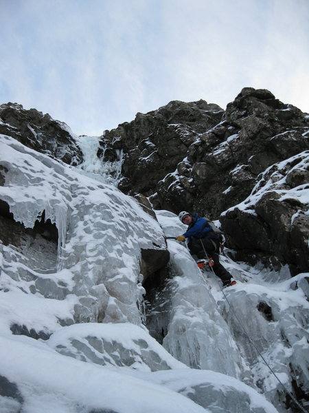 Starting up the gully to the upper pitch