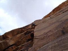 Rock Climbing Photo: Darren on the Panhandle Crack, pitch 5 (10d) Texas...