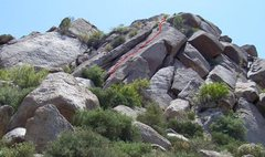 Rock Climbing Photo: Approximate route shown in red.