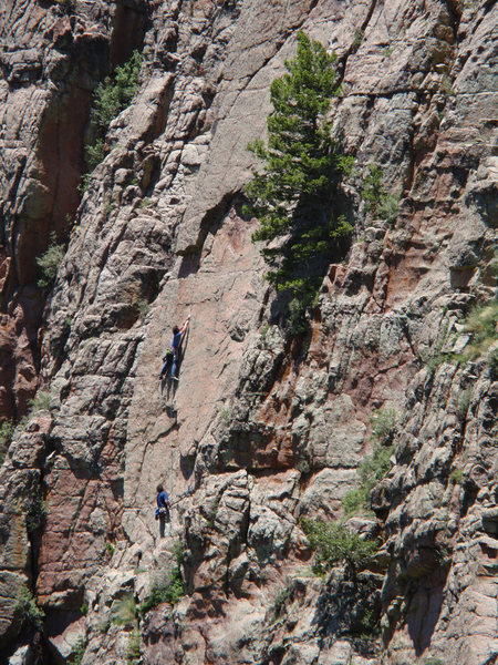 Rock Climbing Photo: MattL working his way up the seam on Another Pair ...