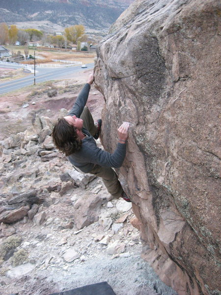 Rock Climbing Photo: Abottoir- Left. Note the Parking Lot in the Backgr...