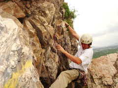 Rock Climbing Photo: Adam Symonds pulls up on the first move over the c...