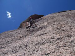 Rock Climbing Photo: Pete Lardy leading the fourth pitch. (Note the Yat...