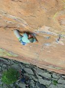 Rock Climbing Photo: Dan Levison entering redpoint crux.  Photo by Seno...