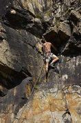 Rock Climbing Photo: Sunday Morning Crack is below the climber. When he...