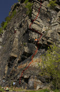 Rock Climbing Photo: This is the entire route Sunday Morning including ...