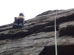 Rock Climbing Photo: Starting the crack after the crux roof.