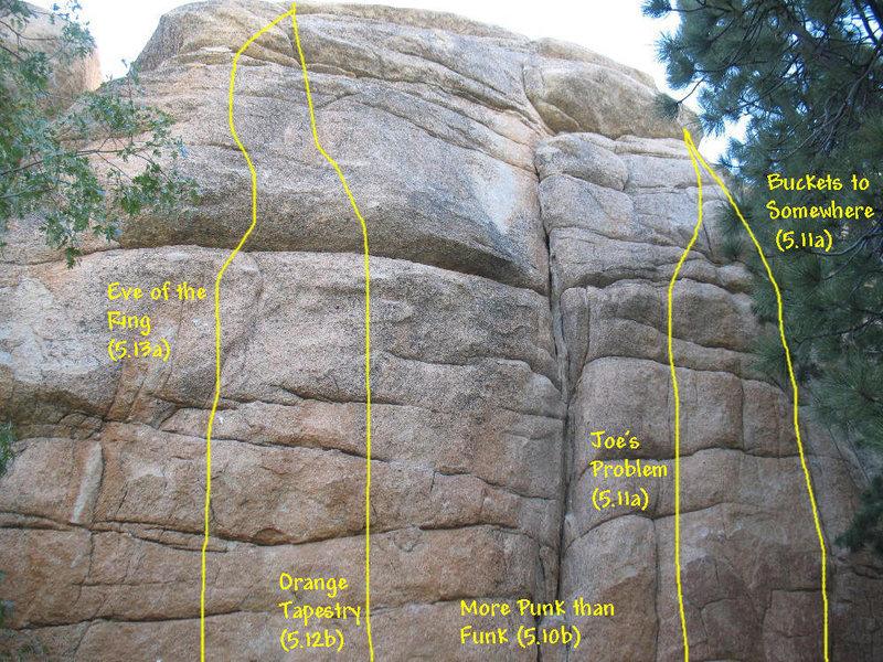 Photo/topo for Hungover Wall - Left Side, Keller Peak. <br>