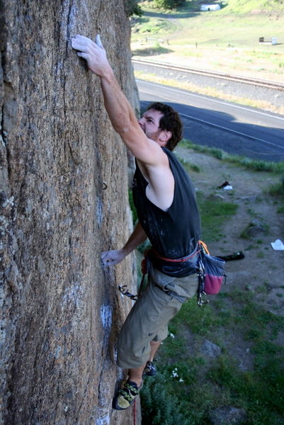 Rock Climbing Photo: Going for the crux move
