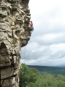 Rock Climbing Photo: Ben leading p2 of Son of Easy Overhang. Photo take...